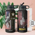 Veteran Personalized MDA2209007 Stainless Steel Bottle With Straw Lid