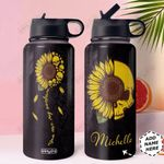 Skull Sunflower Personalized HHA1310008 Stainless Steel Bottle With Straw Lid