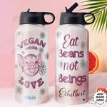 Pig Vegan Personalized DNE0510001 Stainless Steel Bottle With Straw Lid