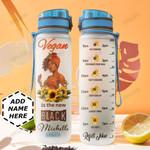 Black Vegan Women Personalized HHE0510011 Water Tracker Bottle