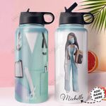 Nurse Personalized HHA0710006 Stainless Steel Bottle With Straw Lid