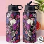 Skull Personalized HHA1610010 Stainless Steel Bottle With Straw Lid