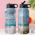 Beach Personalized DNA1210002 Stainless Steel Bottle With Straw Lid
