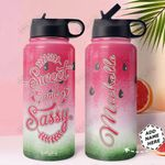 Watermelon Personalized HTQ1710029 Stainless Steel Bottle With Straw Lid