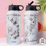 Snowboarding Personalized MDA1310024 Stainless Steel Bottle With Straw Lid