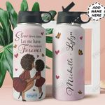 Love Black Women Personalized HHE2309002 Stainless Steel Bottle With Straw Lid
