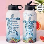 Turtle Ocean Personalized DNA1210005 Stainless Steel Bottle With Straw Lid