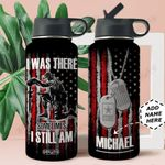 Veteran Personalized MDA2309004 Stainless Steel Bottle With Straw Lid