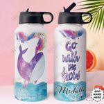 Whale Personalized HHE3009010 Stainless Steel Bottle With Straw Lid