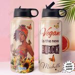 Black Vegan Women Personalized HHE0510002 Stainless Steel Bottle With Straw Lid