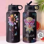 Owl Mandala Personalized HHR1910001 Stainless Steel Bottle With Straw Lid