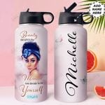 Black Women Personalized HHE2509003 Stainless Steel Bottle With Straw Lid