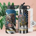 Navy Veteran Personalized DNA2209001 Stainless Steel Bottle With Straw Lid