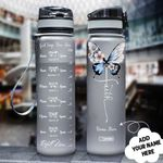 Butterfly Faith Personalized HHA2107015 Black Water Tracker Bottle