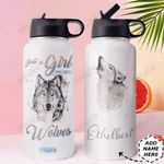 Wolf Lover Personalized DNR2010006 Stainless Steel Bottle With Straw Lid
