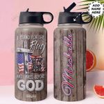Veteran Personalized HTR1310006 Stainless Steel Bottle With Straw Lid