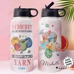 Yarn Personalized HHA1610011 Stainless Steel Bottle With Straw Lid