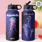 Jellyfish Personalized HHE0110002 Stainless Steel Bottle With Straw Lid