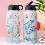 Dolphin Personalized HHE0110001 Stainless Steel Bottle With Straw Lid