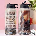 Faith Storm Ship Personalized HHE0710003 Stainless Steel Bottle with Straw Lid
