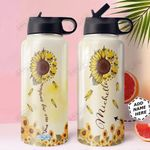 Skull Sunflower Personalized HHA0710008 Stainless Steel Bottle With Straw Lid