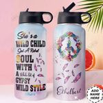 Hippie Life Personalized DNC1510003 Stainless Steel Bottle With Straw Lid