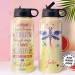 Dragonfly KD4 Personalized HHA0810004 Stainless Steel Bottle With Straw Lid