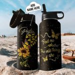 Butterfly Elephant Personalized THW1910029 Stainless Steel Bottle With Straw Lid