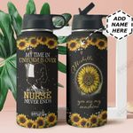 Sunflower Retired Nurse Personalized HTR2309006 Stainless Steel Bottle With Straw Lid