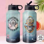 Scuba Diving Personalized DNC1610003 Stainless Steel Bottle With Straw Lid