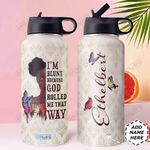 Butterfly FAITH Personalized DNC1510002 Stainless Steel Bottle With Straw Lid