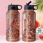 Horse Leather Personalized DNE0810005 Stainless Steel Bottle With Straw Lid
