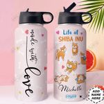 Shiba Inu Personalized HHE2809011 Stainless Steel Bottle With Straw Lid