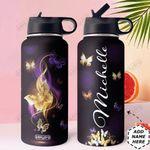 Fantasy Butterfly Personalized HHE0210018 Stainless Steel Bottle With Straw Lid