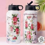 Hummingbird Rose Personalized HHE0310040 Stainless Steel Bottle With Straw Lid