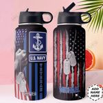 Navy Personalized MDA0310007 Stainless Steel Bottle With Straw Lid