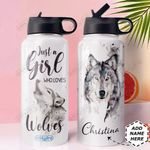 Wolf Personalized MDA0810046 Stainless Steel Bottle With Straw Lid