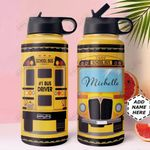 School Bus KD4 Personalized HHA1610009 Stainless Steel Bottle With Straw Lid
