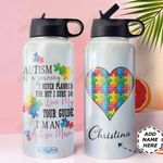 Autism Personalized MDA0810043 Stainless Steel Bottle With Straw Lid