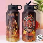 Firefighter Personalized HHA1210017 Stainless Steel Bottle With Straw Lid