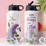 Hummingbird Purple Lilacs Personalized HHE0310039 Stainless Steel Bottle With Straw Lid