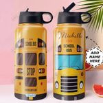 School Bus Personalized HHA0810013 Stainless Steel Bottle With Straw Lid