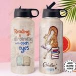 Book Giraffe Personalized DNE0910007 Stainless Steel Bottle With Straw Lid