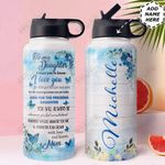 Mom To Daughter Butterfly Personalized HTR1210003 Stainless Steel Bottle With Straw Lid