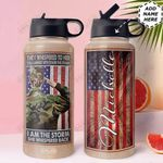 Veteran Personalized HTR1310007 Stainless Steel Bottle With Straw Lid