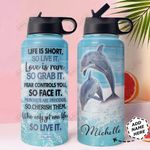 Dolphin Personalized HHA1410008 Stainless Steel Bottle With Straw Lid