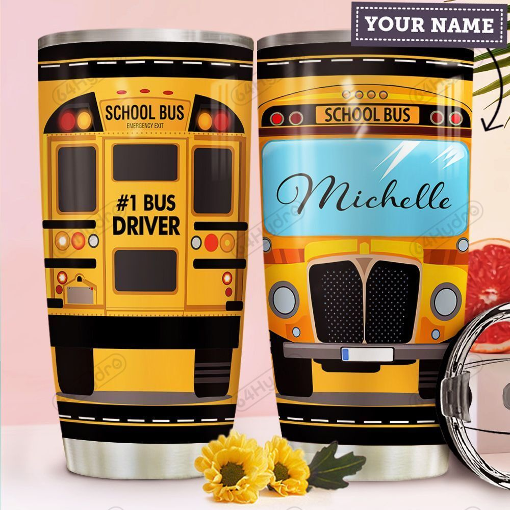School Bus KD4 Personalized HHA1610020 Stainless Steel Tumbler