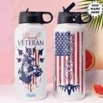 Veteran Personalized HTR1310005 Stainless Steel Bottle With Straw Lid
