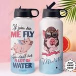 Pig flies Personalized HTQ2909013 Stainless Steel Bottle With Straw Lid