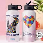 Autism Personalized DNA1210001 Stainless Steel Bottle With Straw Lid